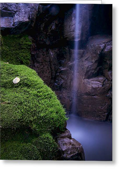 Water Flowing Greeting Cards - Thin waterfall with mossy rocks Greeting Card by Berkehaus Photography