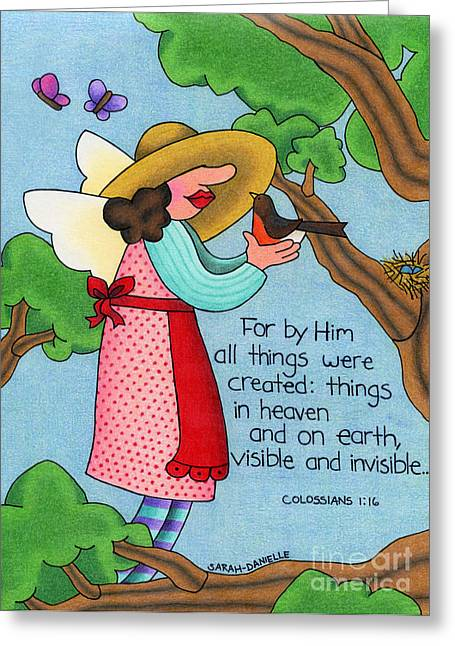 Recently Sold -  - Seraphim Angel Greeting Cards - Things visible and invisible Greeting Card by Sarah Batalka