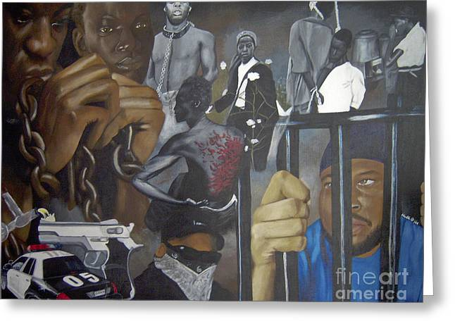 Chain Gang Greeting Cards - Think Black Man Greeting Card by Chelle Brantley