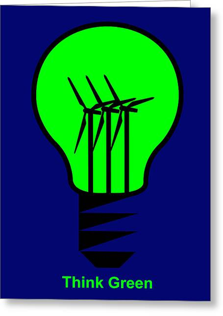 Think Green Greeting Card by Asbjorn Lonvig