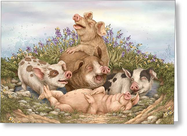 Pigs Greeting Cards - Think Happy Greeting Card by Beverly Levi-Parker