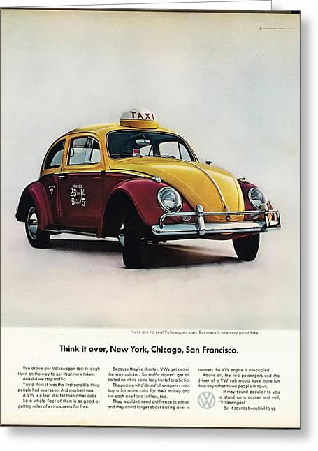 Vw Beetle Greeting Cards - Think it over - New York Chicago San Francisco Greeting Card by Nomad Art And  Design