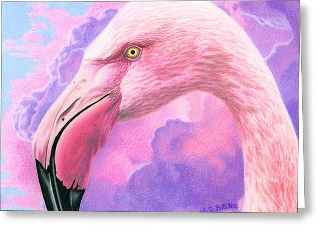 Impending Greeting Cards - Think Pink Flamingo Greeting Card by Sarah Batalka