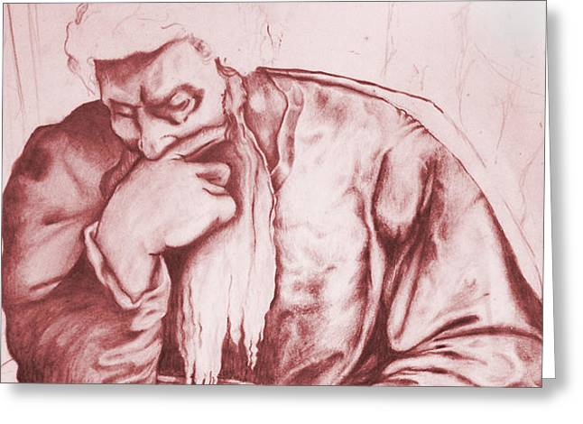 Old Masters Mixed Media Greeting Cards - Thinker No.2 Greeting Card by Russ Murry