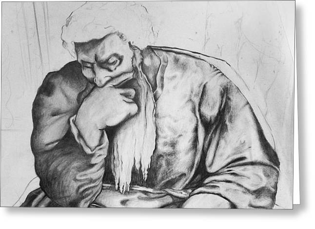 Old Masters Drawings Greeting Cards - Thinker Greeting Card by Russ Murry