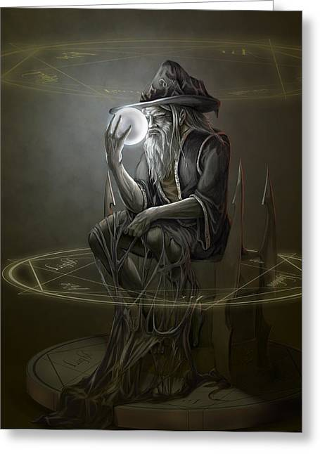 Thinker Wizard Greeting Card by Rob Carlos