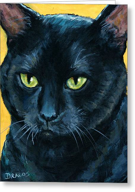 Draco Greeting Cards - Thinking Black Cat Greeting Card by Dottie Dracos