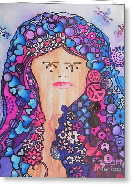 Ink Drawing Greeting Cards - Thinking of Peace Greeting Card by Chrisann Ellis