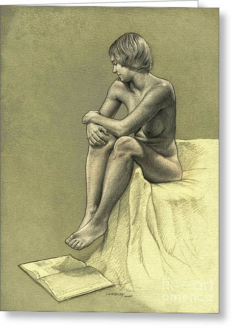 Figure Drawing Greeting Cards - Thinking Greeting Card by Dirk Dzimirsky