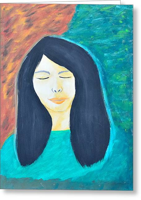 Schoolgirl Paintings Greeting Cards - Thinking Girl. Greeting Card by Kanthima Chinanurak
