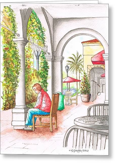 Portal Paintings Greeting Cards - Thinking in Crystal Cove Portals - California Greeting Card by Carlos G Groppa