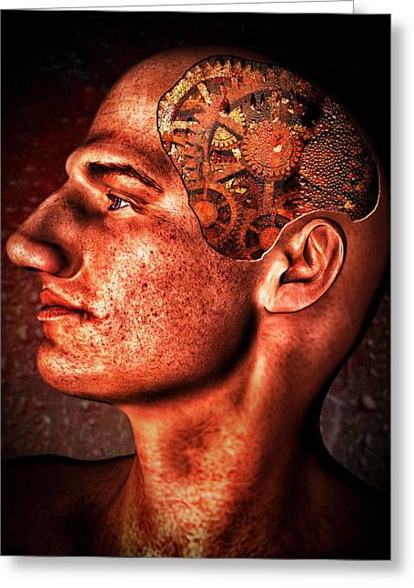 Kafka Digital Art Greeting Cards - Thinking Man Greeting Card by Bob Orsillo