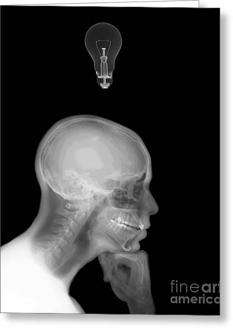 Thinking Person Greeting Cards - Thinking Man With A Lightbulb  Greeting Card by Guy Viner