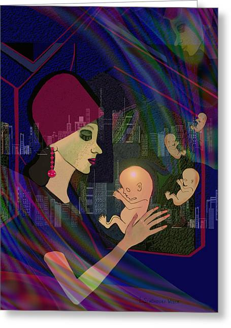 Woman Fetus Greeting Cards - 838 - Her lost children  Greeting Card by Irmgard Schoendorf Welch