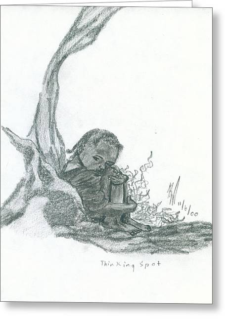 Spot Drawings Greeting Cards - Thinking Spot Greeting Card by Kd Neeley