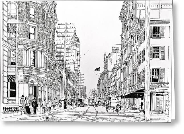Pen And Ink Drawing Greeting Cards - Third And Walnut Philadelphia 1890 Greeting Card by Ira Shander