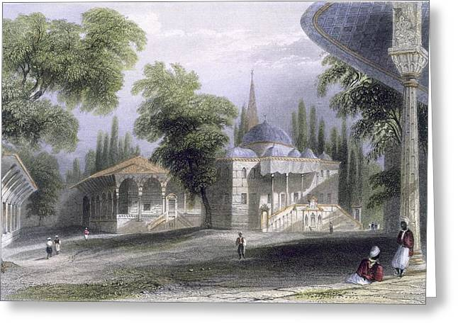 Seraglio Greeting Cards - Third Court Of The Serai Bournou, C.1850 Greeting Card by William Henry Bartlett