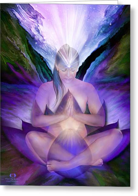 Indigo Chakra Greeting Cards - Third Eye Chakra Goddess Greeting Card by Carol Cavalaris