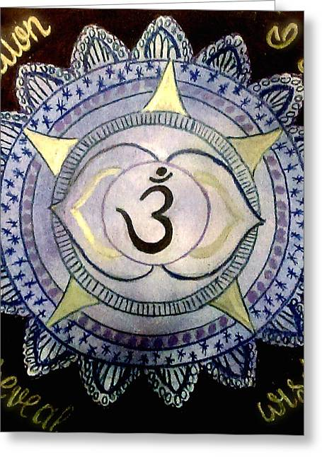 Indigo Chakra Greeting Cards - Third Eye Chakra Greeting Card by Jennie Hallbrown
