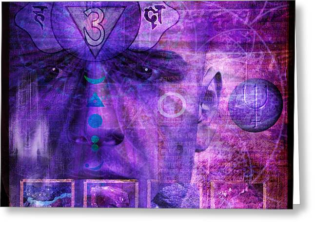 Indigo Chakra Greeting Cards - Third Eye Chakra Greeting Card by Mark Preston