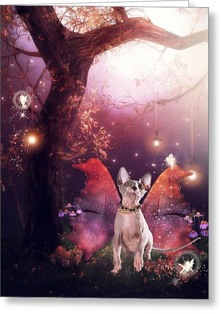 Sphynx Cat Greeting Cards - Third Faery Kitty Greeting Card by Brittney Gobble
