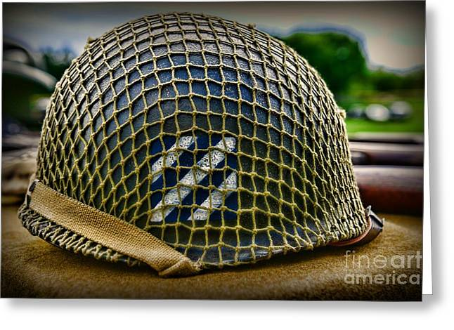 3rd Army Greeting Cards - Third Infantry Division Helmet Greeting Card by Paul Ward