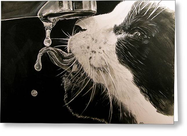 Faucet Paintings Greeting Cards - Thirsty 2 Greeting Card by Carol Blackhurst