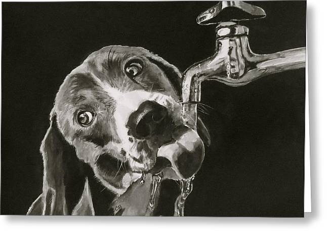 Droplet Paintings Greeting Cards - Thirsty Greeting Card by Carol Blackhurst