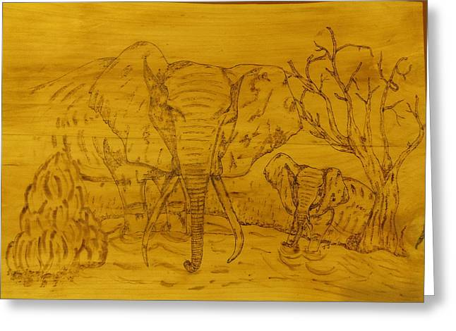 Elephants Pyrography Greeting Cards - Thirsty Elephants Greeting Card by JJ Oosthuizen