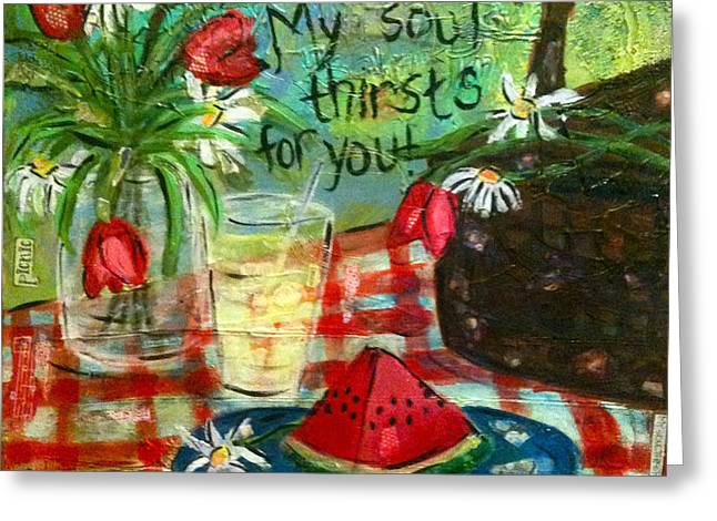 Watermelon Mixed Media Greeting Cards - Thirsty Greeting Card by Stacy Spangler
