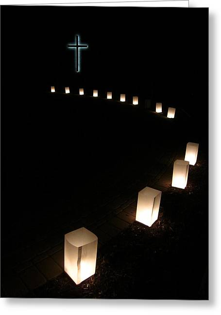 Bags With Candles Greeting Cards - Thirteen Steps to the Cross Greeting Card by Guy Ricketts