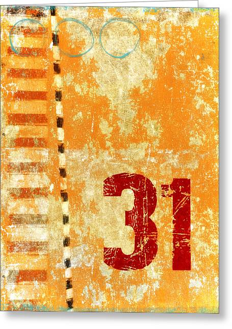 Numbers Greeting Cards - Thirty-One Stripes Greeting Card by Carol Leigh