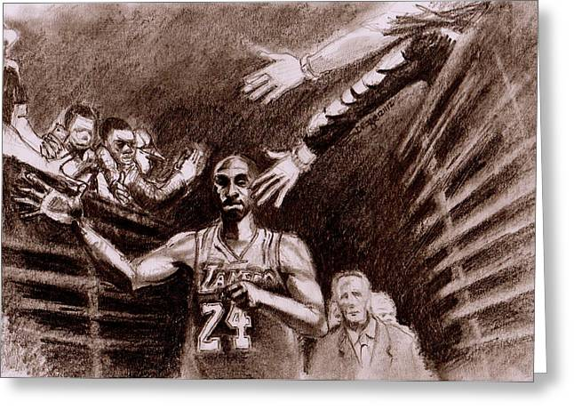 Kobe Bryant Drawings Greeting Cards - Thirty Thousand And Beyond Greeting Card by Dallas Roquemore