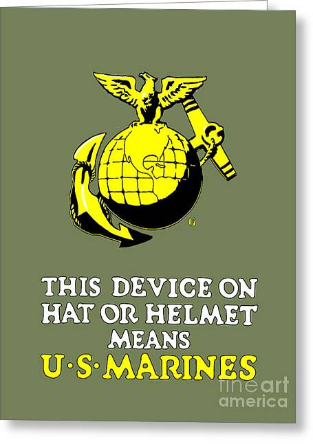 Armed Services Greeting Cards - This Device Means U S Marines Greeting Card by God and Country Prints