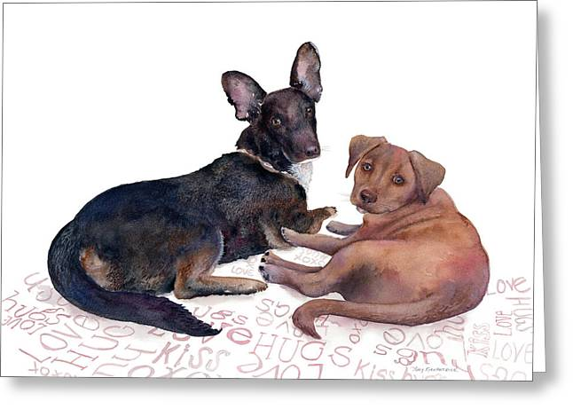 Black Dogs Greeting Cards - This is a Private Conversation Greeting Card by Amy Kirkpatrick