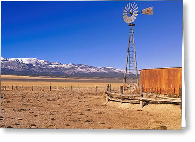Snow Capped Greeting Cards - This Is An Old Wooden Windmill In An Greeting Card by Panoramic Images