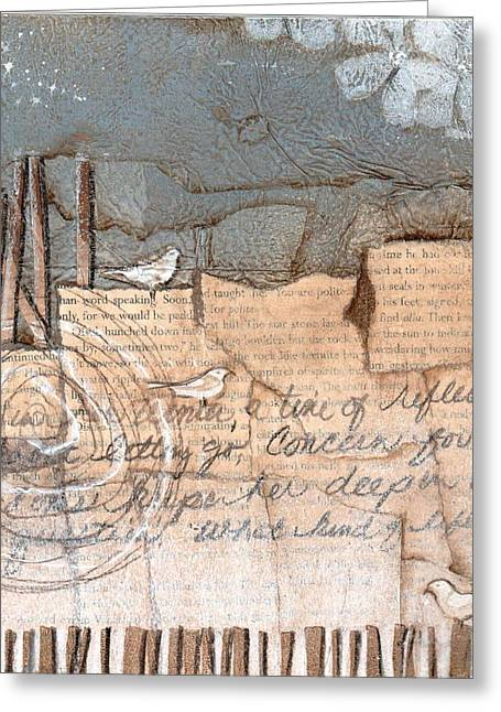 Mixed Media Collages Greeting Cards - This is her Winter Time Greeting Card by Laura  Lein-Svencner