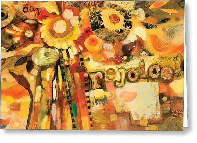 Abstract Spiritual Art Greeting Cards - This is the Day to Rejoice Greeting Card by Jen Norton