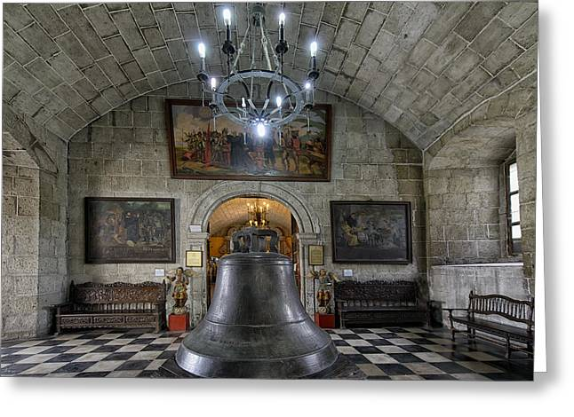 Golden Bell Greeting Cards - This is the Philippines No.89 - San Agustin Church Bell Greeting Card by Paul W Sharpe Aka Wizard of Wonders