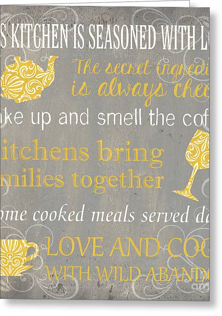 Cup Greeting Cards - This Kitchen Is Seasoned with Love Greeting Card by Debbie DeWitt