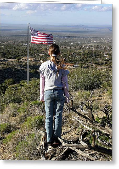 Best Sellers -  - Outlook Greeting Cards - THIS LAND IS HER LAND American Girl and Flag Greeting Card by Sindi June Short