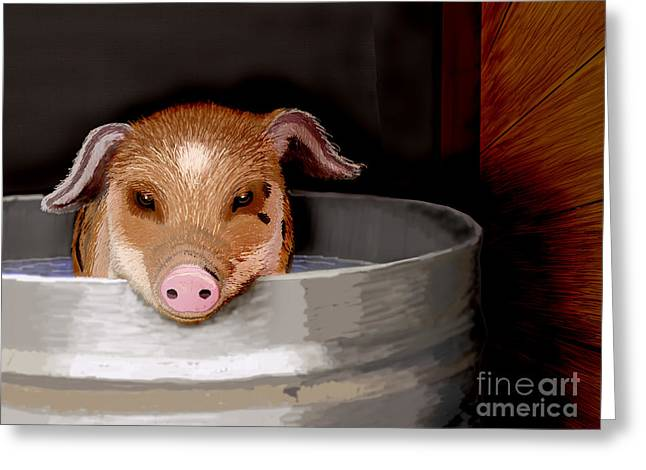 Porcine Animal Greeting Cards - This Little Piggy . . . Greeting Card by Jacqueline Barden