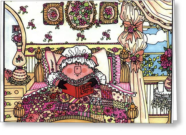 Storybook Drawings Greeting Cards - This Little Piggy Stayed Home Greeting Card by Sarajane Helm