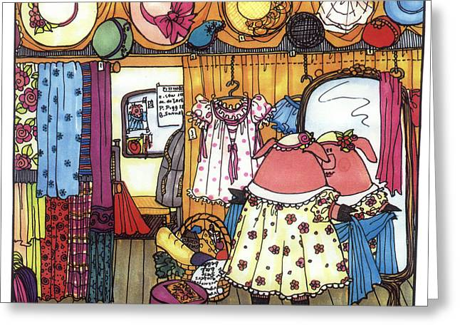 Nursery Rhyme Drawings Greeting Cards - This Little Piggy Went Shopping Greeting Card by Sarajane Helm
