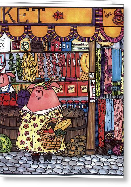 Nursery Rhyme Drawings Greeting Cards - This Little Piggy Went To Market Greeting Card by Sarajane Helm