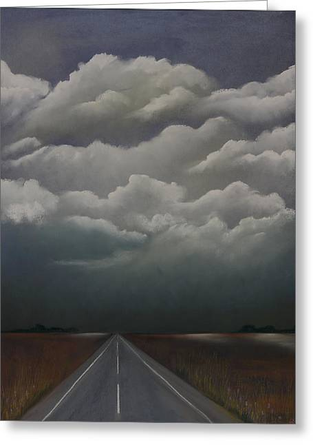 Highway Pastels Greeting Cards - This Menacing Sky Greeting Card by Cynthia Lassiter