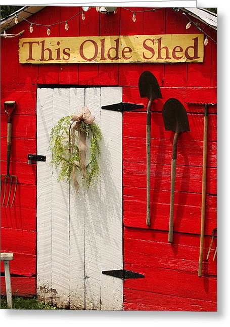 Garden Shed Greeting Cards - This Olde Shed Greeting Card by Art Block Collections