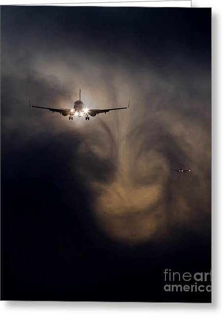 Airplane Landing Greeting Cards - This Way Greeting Card by Alex Esguerra