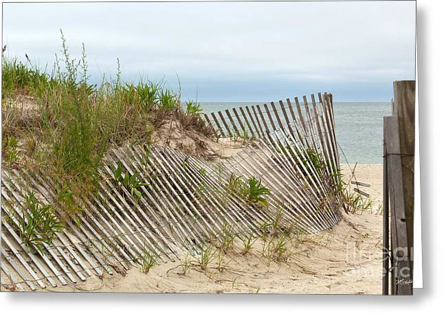 Sand Fences Greeting Cards - This Way to the Beach Greeting Card by Michelle Wiarda