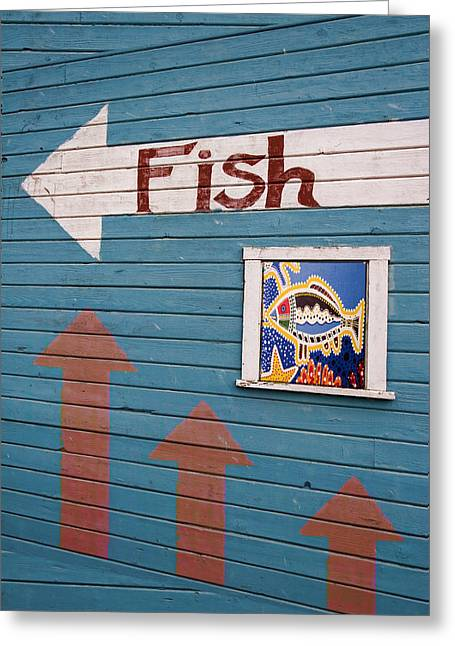 Fish Market Greeting Cards - This Way to the Fish Greeting Card by Carol Leigh